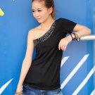 Fashion Single Shoulder T-shirt Black