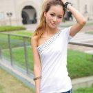 Single Shoulder Fashion T-shirt White