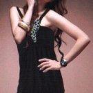 Ladies Sequins Ruffle Dress Black