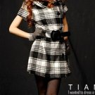 Grid Pattern Buttons Dress With Belt Black