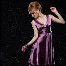 Graceful Waist Belted Satin Dress Purple
