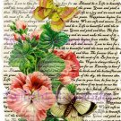 Shabby Chic Pink Butterfly Vintage Art Print 12x8 FREE SHIPPING