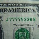 $1 2003A  FRN FANCY SERIAL NUMBER W/ SEVENS J77775338B