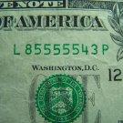 $1 2003A FRN L85555543P FANCY SERIAL NUMBER W/ FIVES FW, L12