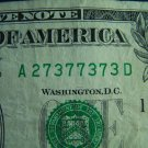 $1 2006 FRN FANCY SERIAL NUMBER w/ SEVENS & THREES A27377373D