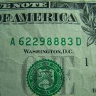 $1 2006 FRN FANCY SERIAL NUMBER w/ EIGHTS A62298883D
