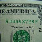 $1 2006 FRN FANCY SERIAL # W/ FOURS B44443728F