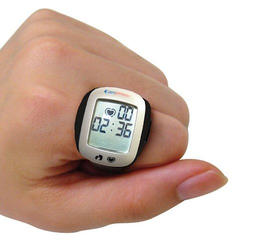Heart Rate Monitor Pedometer Ring with stopwatch, clock, calories, pedometer, and distance display
