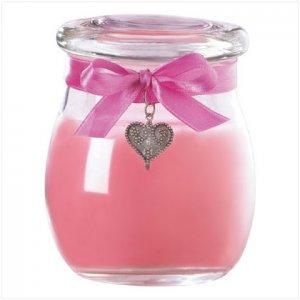 PINK JAR CANDLE-HEART PENDANT