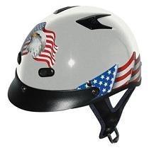 DOT VENTED EAGLE FLAG SILVER MOTORCYCLE HALF HELMET BEANIE HELMET NEW