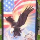 "EAGLE & AMERICAN FLAG CLOCK 22"" X 16"" BEAUTIFUL CLOCK"