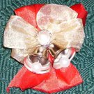 SILVER BELLS MUSICAL RIBBON BOW CORSAGE & PEARL ACCENTS