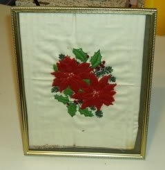 Creative Circle Poinsettia Picture,Gold Frame, Handmade