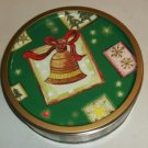 Green Christmas Tin w/ Gold Bell,Grt Gift Giving Food
