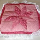 Floral Pink Quilted Pillow Front, Edged With Lace #1