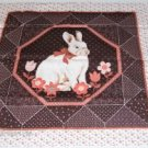 Sweet Bunny Rabbit Pillow Panel with Coral Flowers