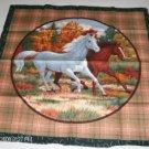 Running Horses Pillow Panel Plaid Edged w/ Horseshoes