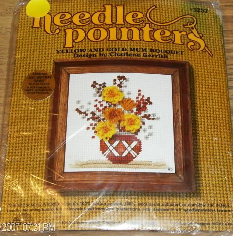 YELLOW & GOLD MUMS BOUQUET NEEDLEPOINT KIT NIP