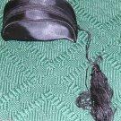 BLACK SATIN MINI EVENING BAG WITH TASSLE, NEW, ELEGANT