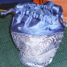 SILVER & BLUE COSMETIC SACK WITH SATIN, NEW, PRETTY