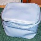 BLUE VINYL TRAIN CASE MAKEUP BAG - STURDY BAG