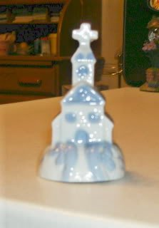 Little Blue & White Church Bell, Quaint, Cute, Ceramic