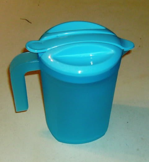 Blue Plastic Pitcher w/ 4 Matching Glasses, Anytime Use