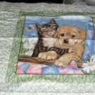 Kitten & Puppy Pillow Panel - Playing & Hugging - Cute