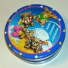 Bears Jumping On Bed Cute Tin,Moon,Gold Stars & Clouds