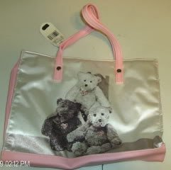 Pink And White Satin Bear Fabric Bag,NWT,Sequined,Cute