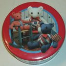 Red Patchwork Tin,Stuffed Teddy Bears in Chairs,Cute
