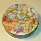 Bears on Couch Reading Cute Round Tin Pastel Colors