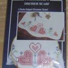 WONDERART PERLE EDGED HEART DRESSER SCARF,NIP