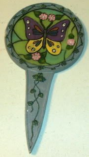 2 Plant Stakes,Butterfly & Kitten Add Decoration to Pot