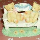 Cherished Teddies on a Garden Bench-Heart to Heart-Cute