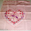 Pink Heart Panel - Flowers, Ribbons, Birds - Pretty