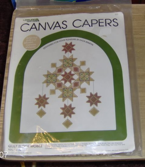 VINTAGE CANVAS CAPERS QUILT BLOCK MOBILE