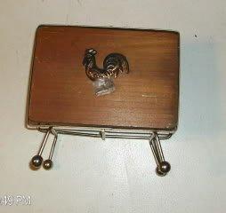 Rooster Napkin Holder-Copper Color Trim-Wood/Metal