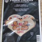 LOVE BEAR PLASTIC POCKET, HEART, MAGNET,PLASTIC CANVAS