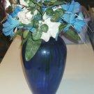 Nice Blue Vase With Flowers - Centerpiece or Doorstop
