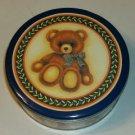 Cute Teddy Bear Tin - Blue Plaid Bow-Tumblling Bears