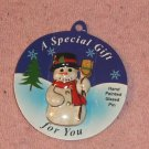 Handpainted Snowman Holiday Pin,Glazed,Holly,Scarf,Cute