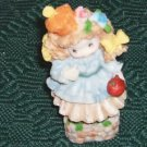 Sweet Little Girl Figurine, With a Red Apple,Flowers