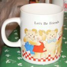 Let's Be Friends Bear Cup,Dancing Bears,Checked Border
