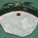 Black Checked Purse With Patent Trim,Shoulder Strap