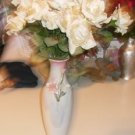 Iridescent Vase With Flowers, Mother of Pearl Look