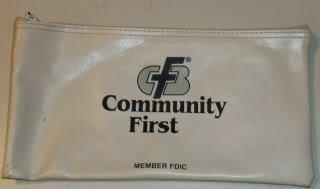 Community First Money Bag  Logo- White w/ Black Letters