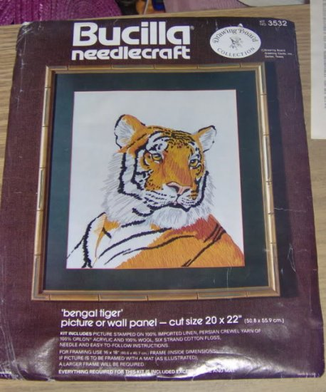 BENGAL TIGER, PICTURE OR WALL PANEL, VINTAGE,BUCILLA