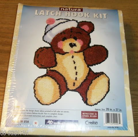 AHOY TEDDY LATCH HOOK KIT FROM NATURA - CUTE NEW IN BOX