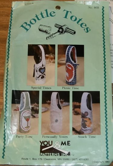 YOU & ME BOTTLE TOTE PATTERNS-5 DESIGNS- NEW